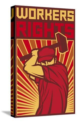 Workers Rights Poster-tribaliumbs-Stretched Canvas Print