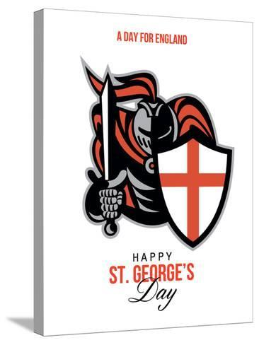 A Day for England Happy St George Greeting Card-patrimonio-Stretched Canvas Print