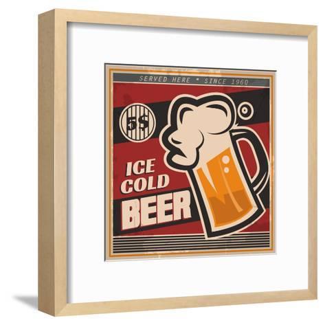Retro Beer Poster-Ayeshstockphoto-Framed Art Print