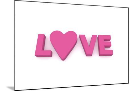 Love with Heart in Pink/Purple-PixBox-Mounted Art Print