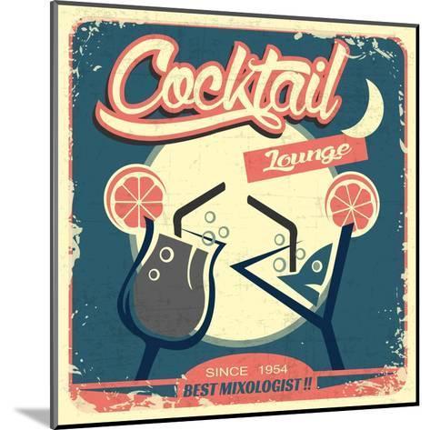 Cocktail Retro Poster-Ayeshstockphoto-Mounted Art Print