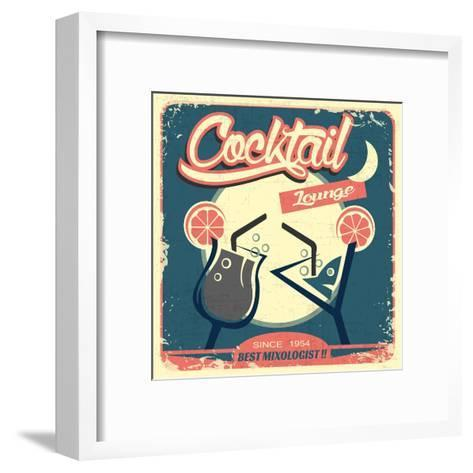 Cocktail Retro Poster-Ayeshstockphoto-Framed Art Print