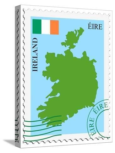 Stamp with Map and Flag of Ireland-Perysty-Stretched Canvas Print