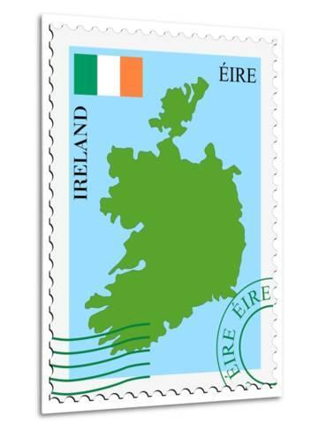 Stamp with Map and Flag of Ireland-Perysty-Metal Print