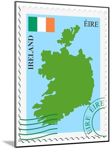 Stamp with Map and Flag of Ireland-Perysty-Mounted Art Print