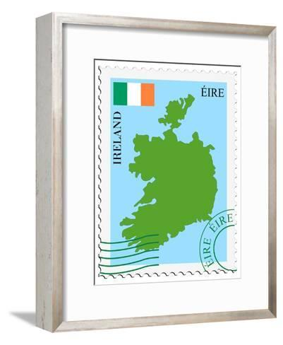 Stamp with Map and Flag of Ireland-Perysty-Framed Art Print