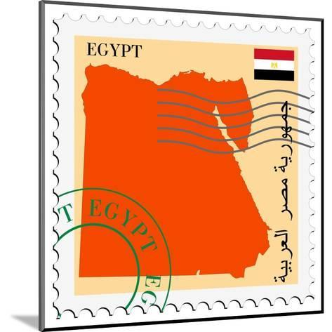 Stamp with Map and Flag of Egypt-Perysty-Mounted Art Print