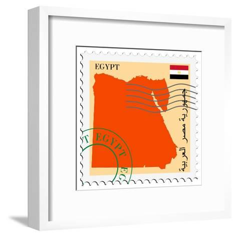 Stamp with Map and Flag of Egypt-Perysty-Framed Art Print