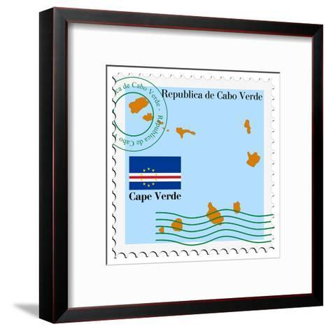 Stamp with Map and Flag of Cape Verde-Perysty-Framed Art Print