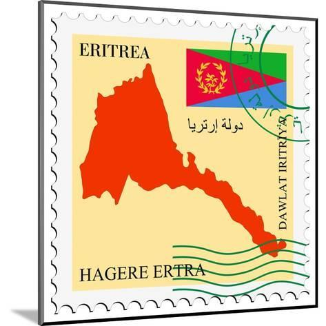 Stamp with Map and Flag of Eritrea-Perysty-Mounted Art Print