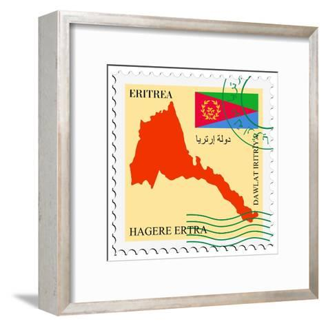 Stamp with Map and Flag of Eritrea-Perysty-Framed Art Print