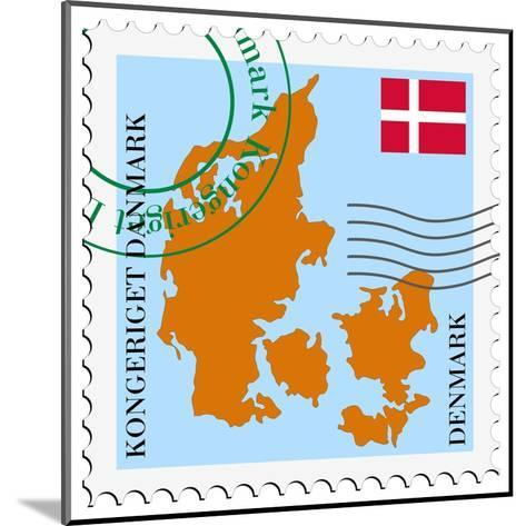 Stamp with Map and Flag of Denmark-Perysty-Mounted Art Print