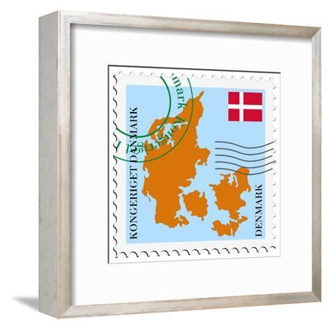 Stamp with Map and Flag of Denmark-Perysty-Framed Art Print