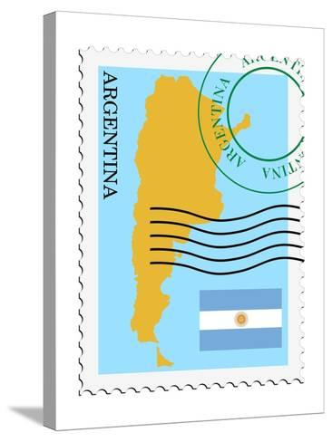 Stamp with Map and Flag of Argentina-Perysty-Stretched Canvas Print