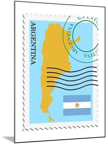 Stamp with Map and Flag of Argentina-Perysty-Mounted Art Print