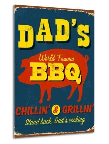 Vintage Design -  Dad's BBQ-Real Callahan-Metal Print
