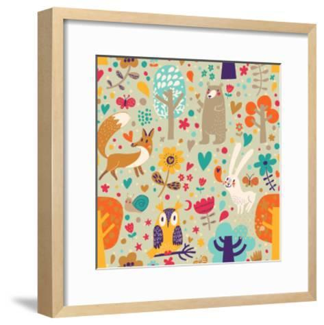 Stylish Floral Seamless Pattern with Forest Animals: Bear, Fox, Owl, Rabbit. Vector Background With-smilewithjul-Framed Art Print