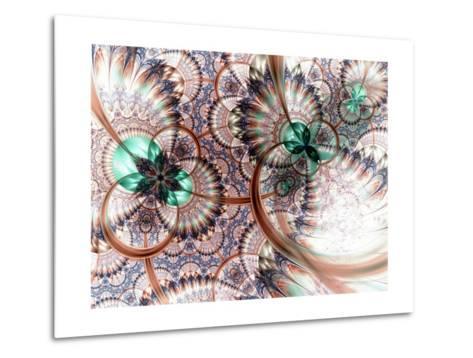Colorful Fractal Flower White Background-fbatista72-Metal Print