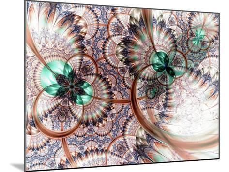 Colorful Fractal Flower White Background-fbatista72-Mounted Art Print