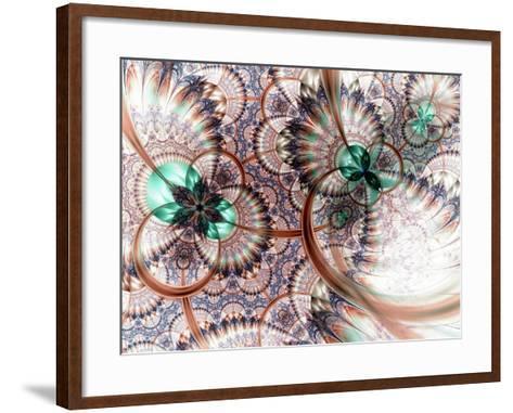 Colorful Fractal Flower White Background-fbatista72-Framed Art Print