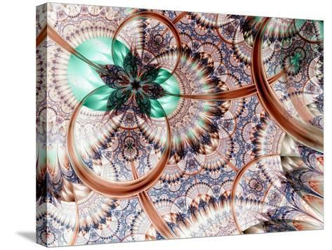 Colorful Fractal Flower White Background-fbatista72-Stretched Canvas Print