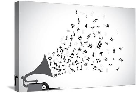 Gramophone Silhouette Playing Slow Soothing Music and Different Notes Flowing out of the Speaker-Harisha-Stretched Canvas Print