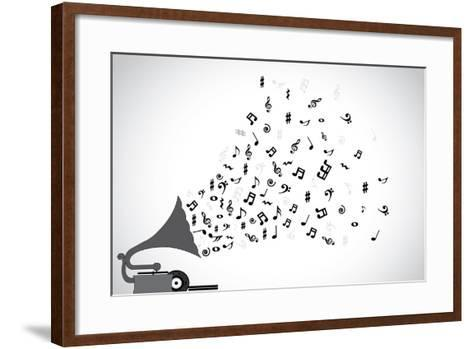 Gramophone Silhouette Playing Slow Soothing Music and Different Notes Flowing out of the Speaker-Harisha-Framed Art Print