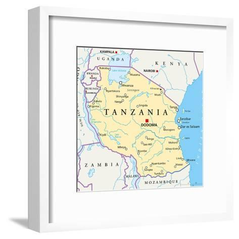 Tanzania Political Map-Peter Hermes Furian-Framed Art Print