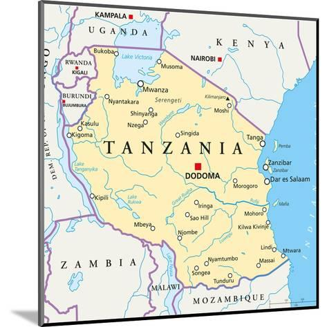 Tanzania Political Map-Peter Hermes Furian-Mounted Art Print