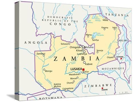 Zambia Political Map-Peter Hermes Furian-Stretched Canvas Print