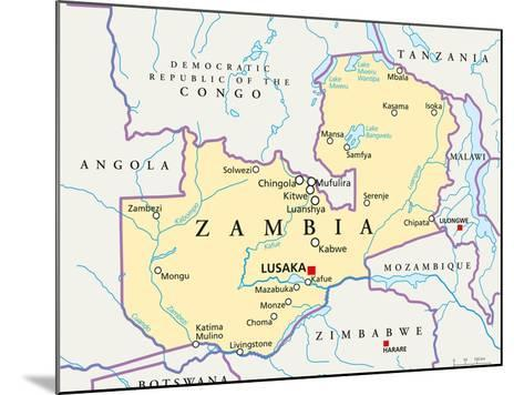 Zambia Political Map-Peter Hermes Furian-Mounted Art Print