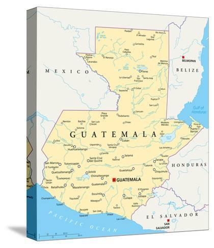 Guatemala Political Map-Peter Hermes Furian-Stretched Canvas Print