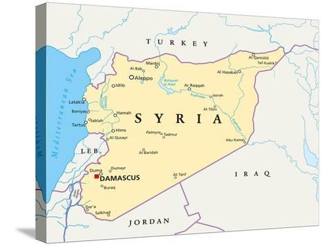 Syria Political Map-Peter Hermes Furian-Stretched Canvas Print
