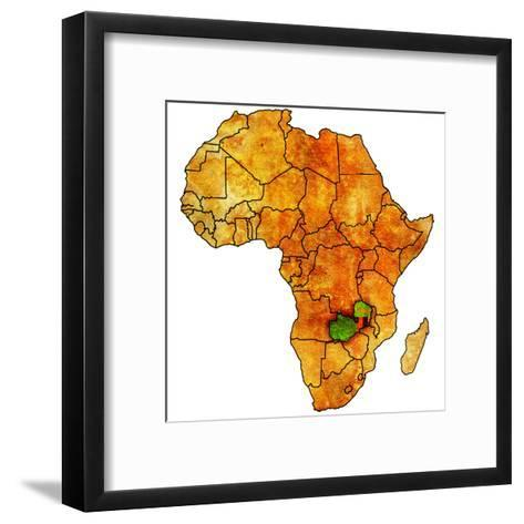 Zambia on Actual Map of Africa-michal812-Framed Art Print