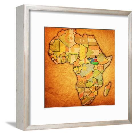 South Sudan on Actual Map of Africa-michal812-Framed Art Print