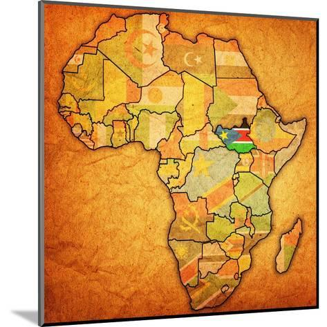 South Sudan on Actual Map of Africa-michal812-Mounted Art Print