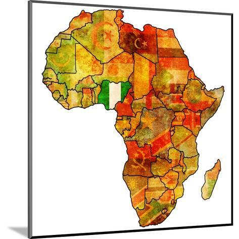 Nigeria on Actual Map of Africa-michal812-Mounted Art Print