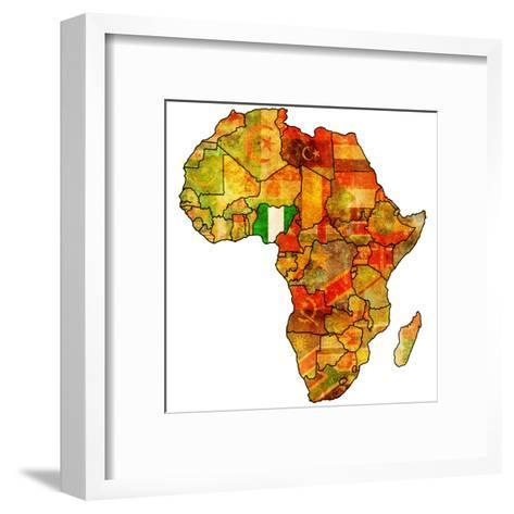 Nigeria on Actual Map of Africa-michal812-Framed Art Print