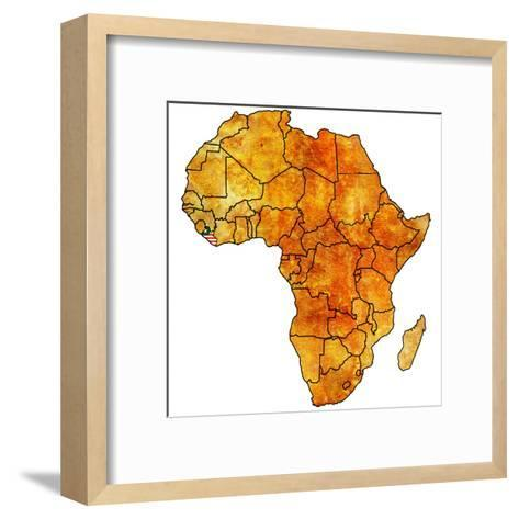 Liberia on Actual Map of Africa-michal812-Framed Art Print