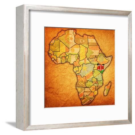 Kenya on Actual Map of Africa-michal812-Framed Art Print