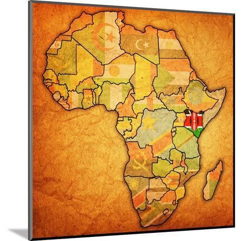 Kenya on Actual Map of Africa-michal812-Mounted Art Print