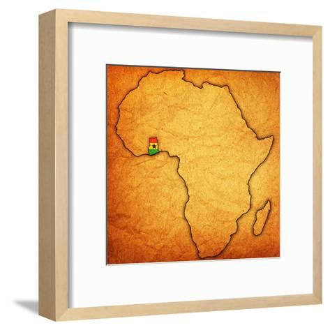 Ghana on Actual Map of Africa-michal812-Framed Art Print