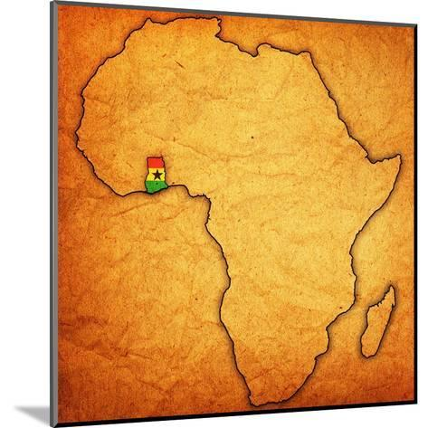Ghana on Actual Map of Africa-michal812-Mounted Art Print