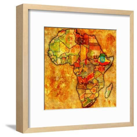Ethiopia on Actual Map of Africa-michal812-Framed Art Print