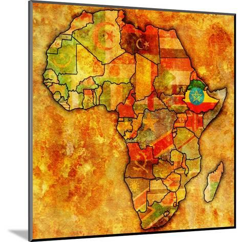 Ethiopia on Actual Map of Africa-michal812-Mounted Art Print