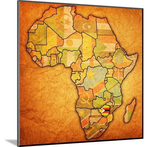 Zimbabwe on Actual Map of Africa-michal812-Mounted Art Print