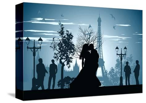 Man and Woman Kissing on A Street in Paris-Stockerteam-Stretched Canvas Print