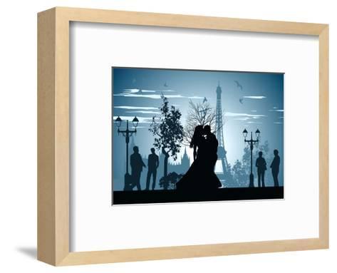Man and Woman Kissing on A Street in Paris-Stockerteam-Framed Art Print