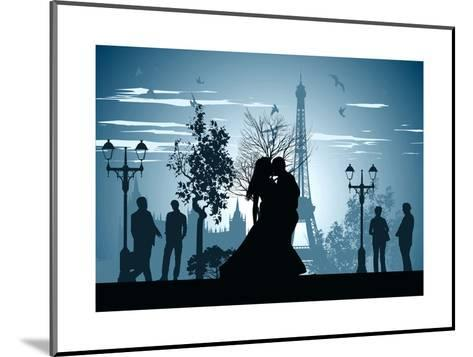Man and Woman Kissing on A Street in Paris-Stockerteam-Mounted Art Print