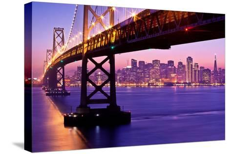 Bay Bridge Twilight-Tom Grubbe-Stretched Canvas Print